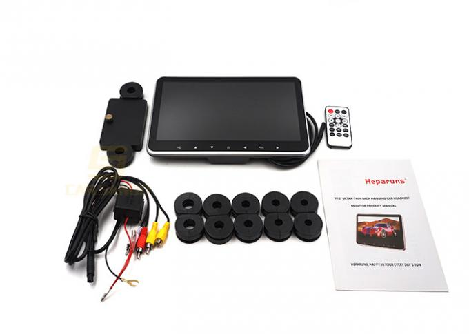 10.1 Inch Car Headrest Dvd Player Black Color With Touch Key , 10W Power